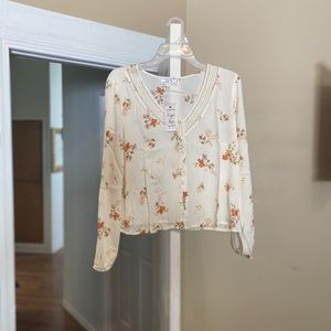 Hippie Rose Crochet Trim blouse